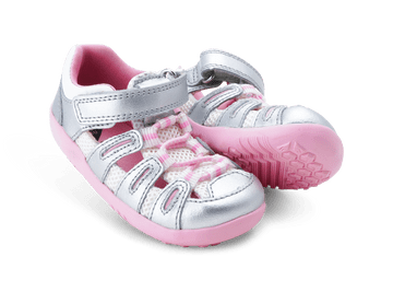 Bobux Step Up Summit Silver Metallic/Candy Closed Toe Sandals
