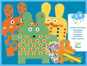 Djeco craft activity - Bunny Paper-weaving and stickers