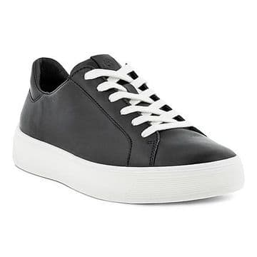 Ecco  291143 Street Tray Black leather Lace Up Trainer