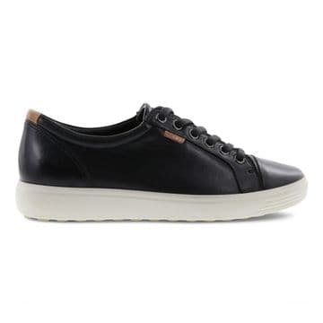 ECCO 430003 Soft 7 black droid Leather Lace Up Trainer