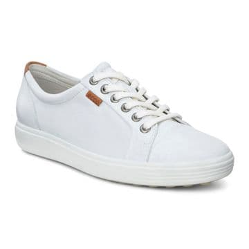 ECCO 430003 Soft 7 White Leather Lace Up Trainer