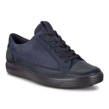 Ecco  470163 Soft 7 Navy leather and suede Laceup trainer