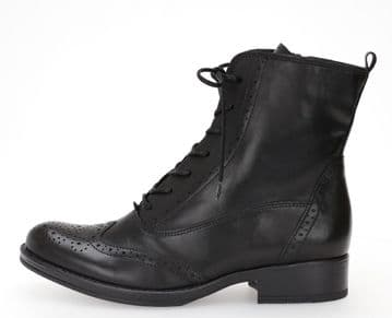 Gabor Abbra - Black Leather - Lace Up Ankle Boot