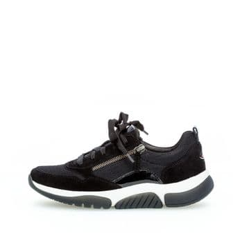 Gabor Aston - black Lace Up and Zip Casual Trainer