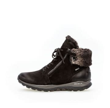 Gabor Distance - Black Waterproof Lace Up and Zip Ankle Boot
