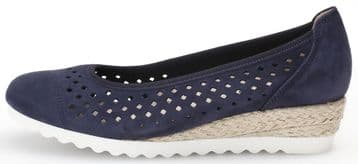 Gabor Evelyn - Navy Nubuck - wide fit - Wedge Court Shoes