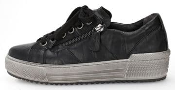 Gabor Flare - Wide Fitting- Black Leather Lace Up with Zip- Casual Trainer