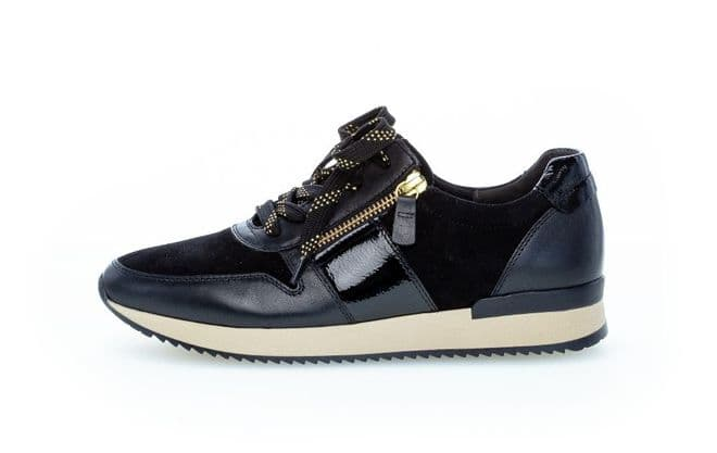 Gabor Lulea - black leather/ suede/ patent Lace up and zip trainer