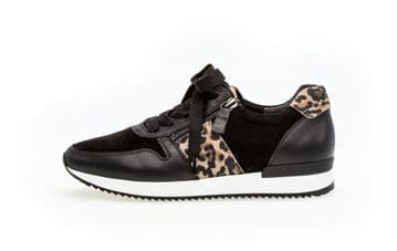 Gabor Lulea - Black/ Leopard Leather/ Suede Lace up and Zip Trainer