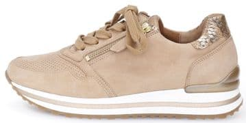 Gabor Nulon - Caramel Suede - Lace-up and Zip Trainer - Wide Fit