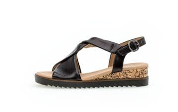 Gabor Rich Black Leather Wide Fit Wedge Sandals