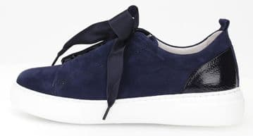 Gabor Sam - Navy Suede Lace Up Trainer