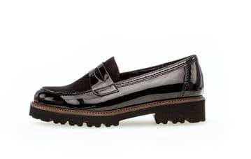 Gabor Simone - Black patent/ suede chunky loafer
