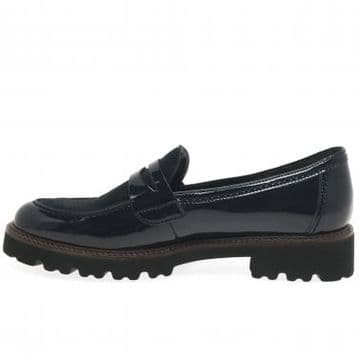 Gabor Simone - Navy patent/ suede chunky loafer