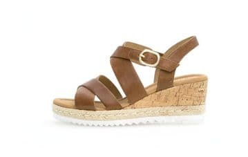 Gabor Talbot Peanut Leather- Wide Fit Wedge Sandals