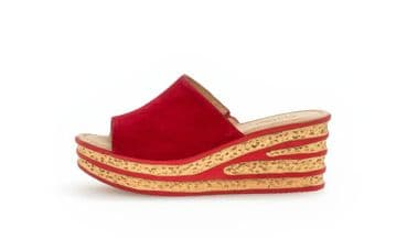 Gabor Trixie Red Suede- Wedge Heel  Mules