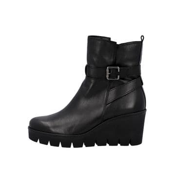 Gabor Umea - Black Leather Wedge Ankle Boot