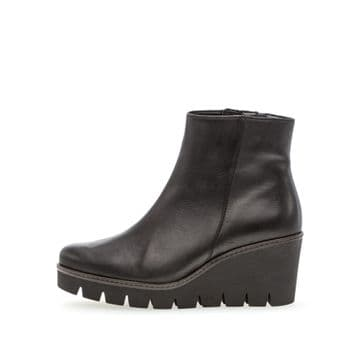 Gabor Utopia - Black Leather Wedge Ankle Boot