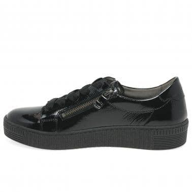 Gabor Wisdom - Black patent Lace Up and Zip Trainer