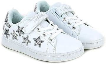 Lelli Kelly Emily White Silver Glitter Stars Velcro and Elastic Lace Fastening Trainer