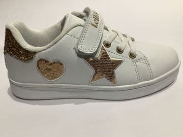 Lelli Kelly Helen White Gold Detail Velcro And Elastic Lace Fastening Trainer