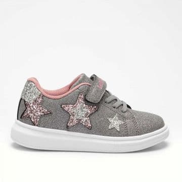 Lelli Kelly Star Grey/Pink Glitter Velcro and Elastic Lace Fastening Trainer