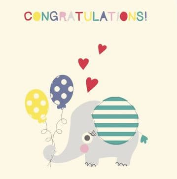 Lilly And Sid Elephant Congratulations Card