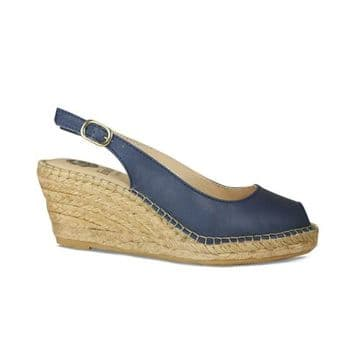 Lisa Kay Emmy Navy Leather Wedge Sandals