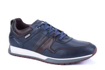 Pikolinos Cambil M5N-6344C1 - blue Leather Lace Up Casual Trainer