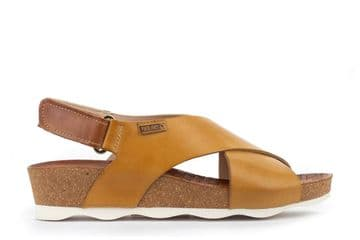 Pikolinos Mahon W9E  Honey Leather Cross Front Wedge Sandals