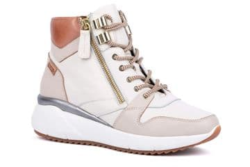 Pikolinos Sella W6Z-8895C2 - White Leather Zip and Lace Up Ankle Boot