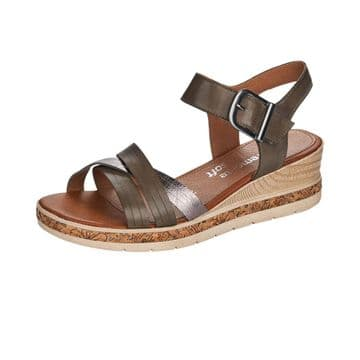 Remonte D3057 Womens  Forest Green- W/ Buckle Detail- Wedge Sandal