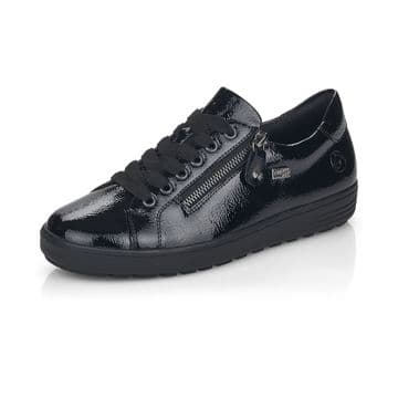Remonte D4400 - black Patent Waterproof Wide Fit Lace Up and Zip Casual Trainer