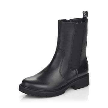 Remonte D8685 - black Leather Wide Fit Zip Up Boot