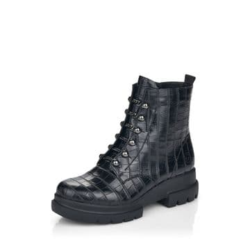 Remonte D8977 - Black Croc- Wide Fit Lace Up and Zip Ankle Boot
