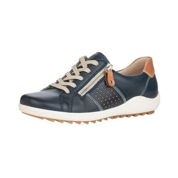 Remonte R1417  Womens Navy Leather- Lace Up w/zip Shoe