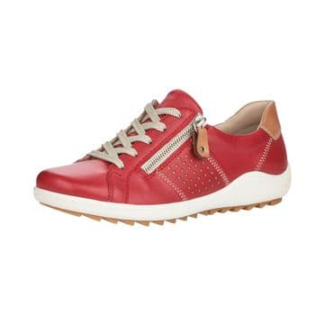 Remonte R1417  Womens Red Leather- Lace Up w/zip Shoe