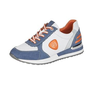 Remonte R2527  Womens White/Blue Leather Lace Up Trainers