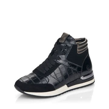 Remonte R2573 - black Suede/ Leather Lace Up and Zip Trainer Boot