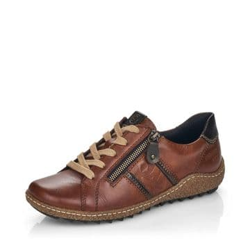Remonte R4706 - Chestnut Leather Waterproof Wide Fit Lace Up and Zip Casual Trainer