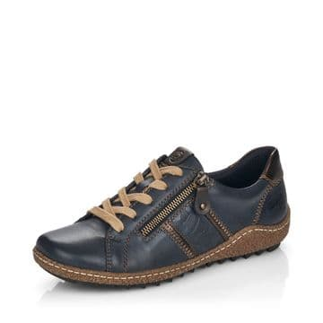 Remonte R4706 - navy Leather Waterproof Wide Fit Lace Up and Zip Casual Trainer