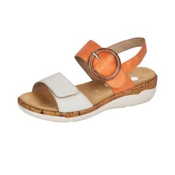 Remonte  R6853  Womens  Off White/Orange Leather -With Buckle detail Sandal