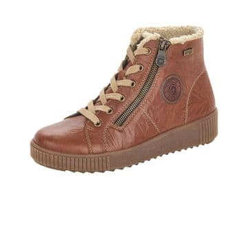 Remonte R7980-22 - tan Leather Wide Fit Waterproof Lace Up and Zip Ankle Boot