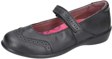 Ricosta Becky Black Leather Mary Jane Brogue Deatil School Shoe (Wide)