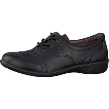 Ricosta Kate Black Leather  Lace Up School Shoe (Wide)