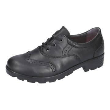 Ricosta Lucy Black Leather Lace Up Brogue School Shoe (Med)