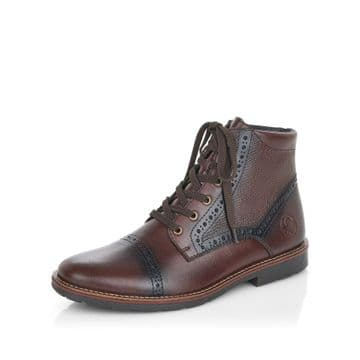 Rieker 35300 - brown Leather Wide Fit Lace Up and Zip Ankle Boot