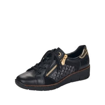 Rieker 53703 - Black Leather Lace Up and Zip Causal Trainer