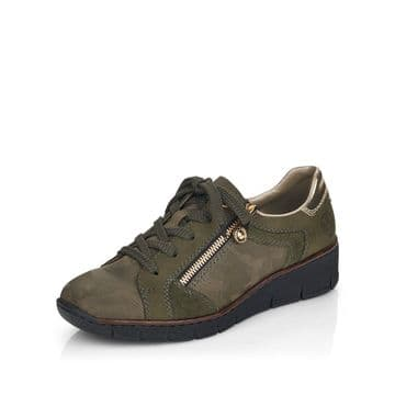 Rieker 53703 - green camo Leather Combo Lace Up and Zip Causal Trainer