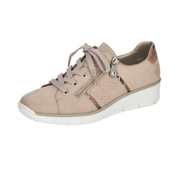 Rieker 53711  Womens  Beige Lace Up and Zip Shoe